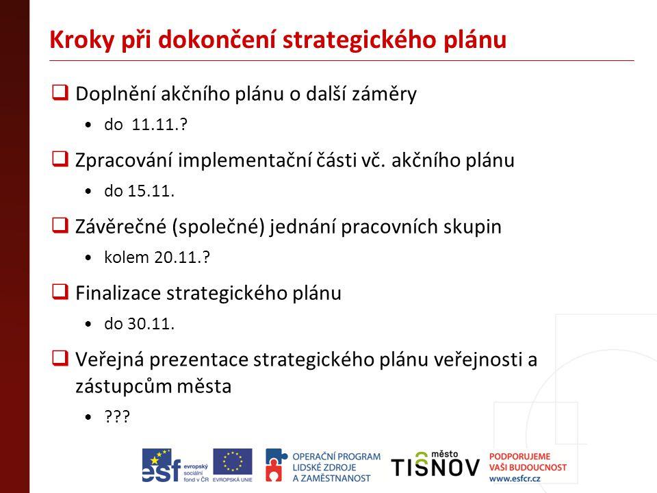 Kroky při dokončení strategického plánu  Doplnění akčního plánu o další záměry •do 11.11.?  Zpracování implementační části vč. akčního plánu •do 15.