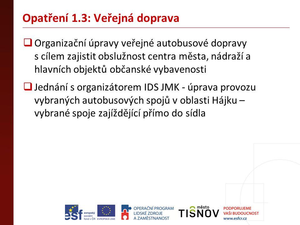 Opatření 1.3: Veřejná doprava  Organizační úpravy veřejné autobusové dopravy s cílem zajistit obslužnost centra města, nádraží a hlavních objektů obč