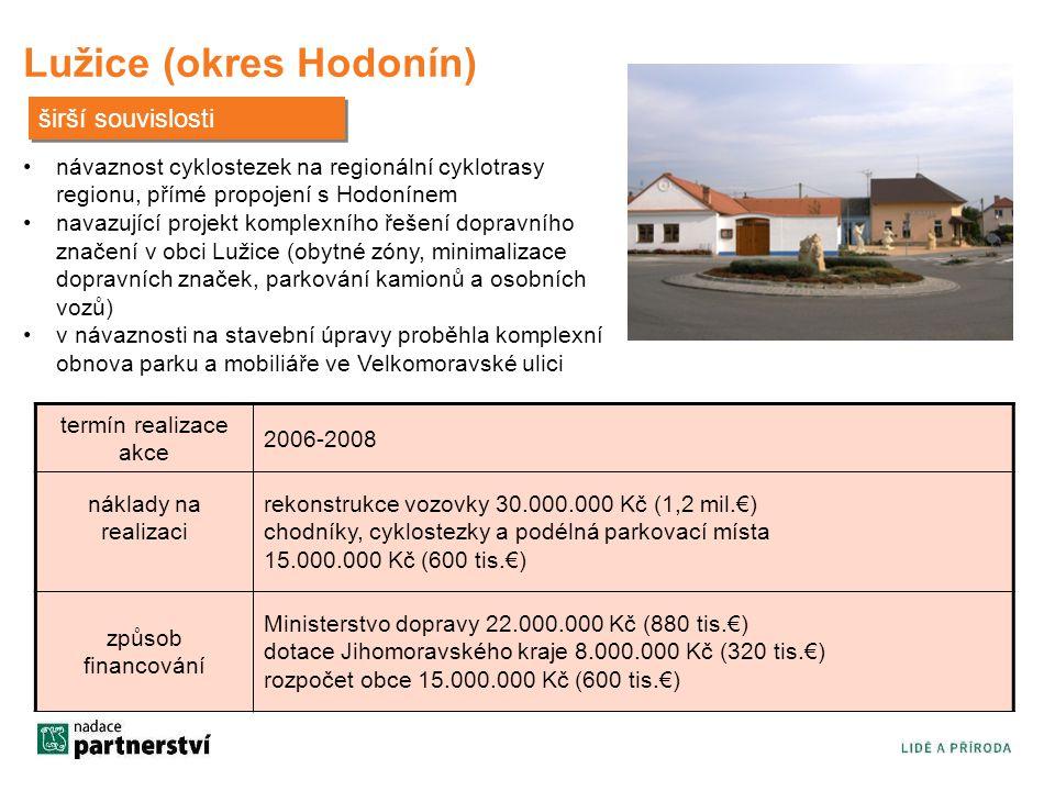 termín realizace akce 2006-2008 náklady na realizaci rekonstrukce vozovky 30.000.000 Kč (1,2 mil.€) chodníky, cyklostezky a podélná parkovací místa 15
