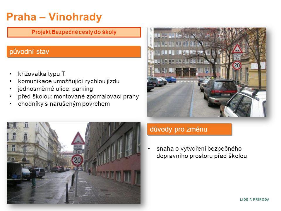 Praha – Vinohrady Projekt Bezpečné cesty do školy původní stav důvody pro změnu •křižovatka typu T •komunikace umožňující rychlou jízdu •jednosměrné u