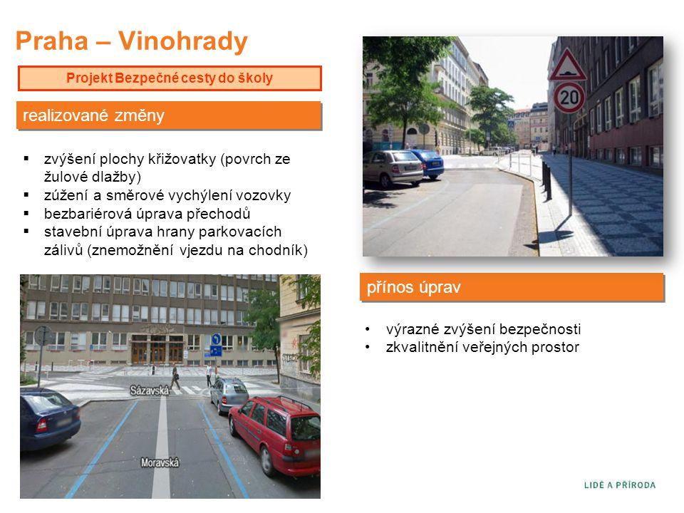 Praha – Vinohrady Projekt Bezpečné cesty do školy přínos úprav  zvýšení plochy křižovatky (povrch ze žulové dlažby)  zúžení a směrové vychýlení vozo