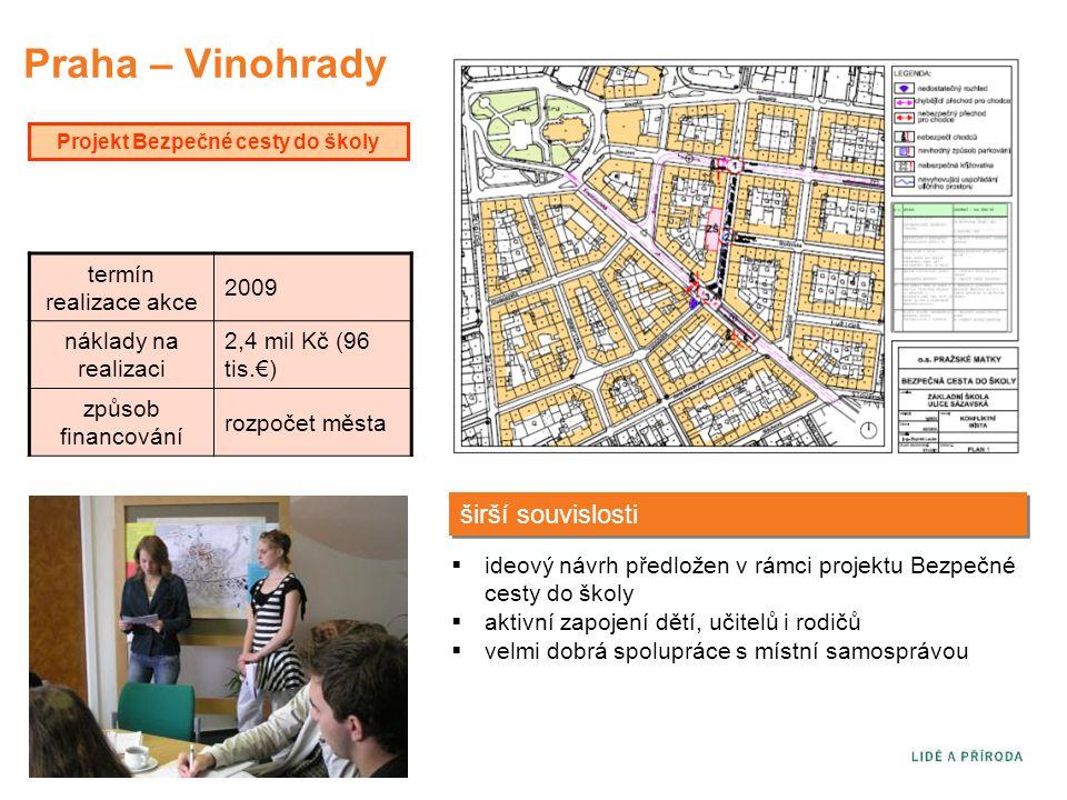 Praha – Vinohrady Projekt Bezpečné cesty do školy  ideový návrh předložen v rámci projektu Bezpečné cesty do školy  aktivní zapojení dětí, učitelů i