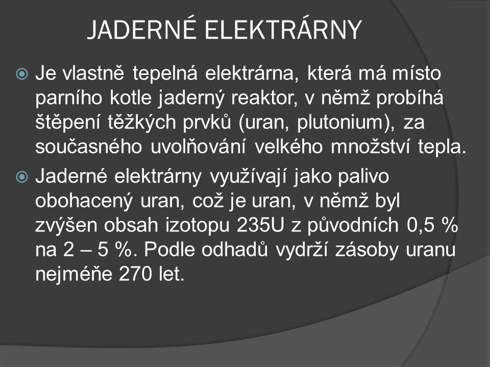  Štěpením jádra uranu 235 vzniká - 83% tepla - 17% energie radioaktivního záření  Řízení výkonu se děje změnou pohlcování neutronů zasouváním tyčí do aktivní zóny reaktoru.