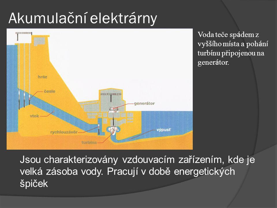 Přečerpávací elektrárny Jde o speciální typ vodní elektrárny, která slouží ke skladování energie.