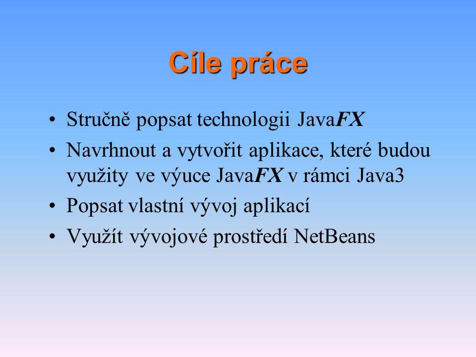 Metodika práce •Seznámení se s problematikou prostřednictvím literatury a ukázkových aplikací na javafx.com •Testování API JavaFX a jazyka JavaFX Script na modelových aplikacích •Navržení cílových aplikací tak, aby představily důležité schopnosti platformy JavaFX a zároveň by svým tématem byly atraktivní pro studenty •Vlastní vývoj aplikací