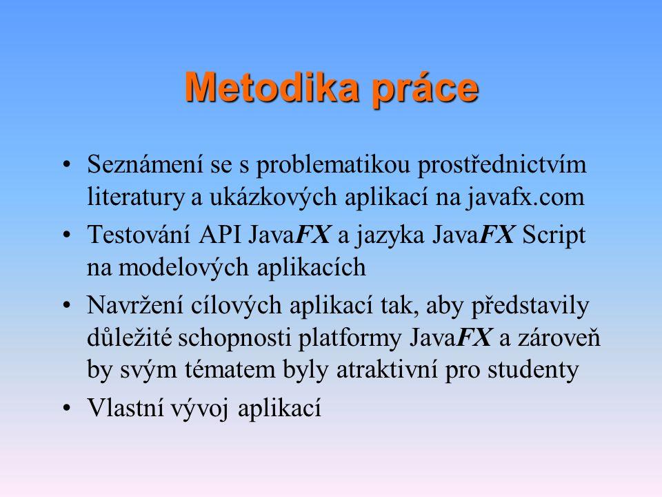 Metodika práce •Seznámení se s problematikou prostřednictvím literatury a ukázkových aplikací na javafx.com •Testování API JavaFX a jazyka JavaFX Scri