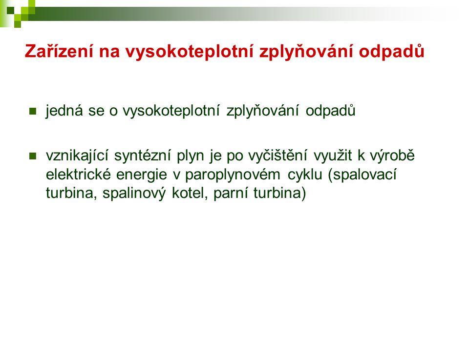 Zařízení na vysokoteplotní zplyňování odpadů  jedná se o vysokoteplotní zplyňování odpadů  vznikající syntézní plyn je po vyčištění využit k výrobě