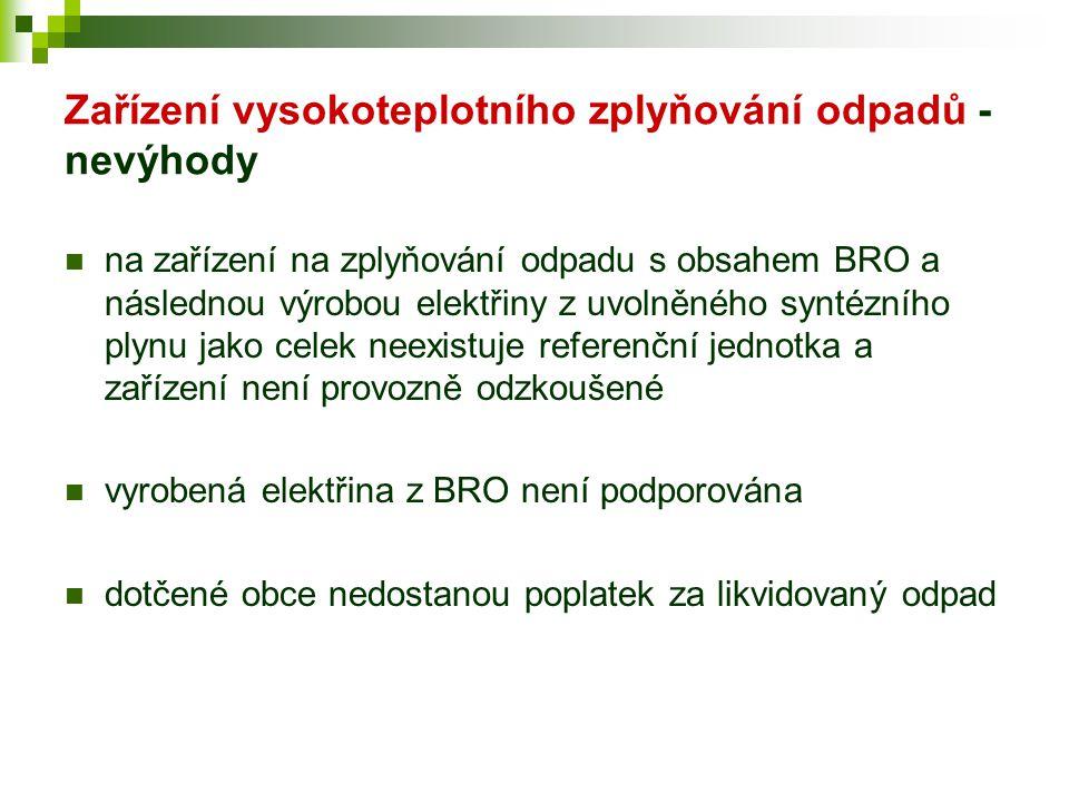 Zařízení vysokoteplotního zplyňování odpadů - nevýhody  na zařízení na zplyňování odpadu s obsahem BRO a následnou výrobou elektřiny z uvolněného syn