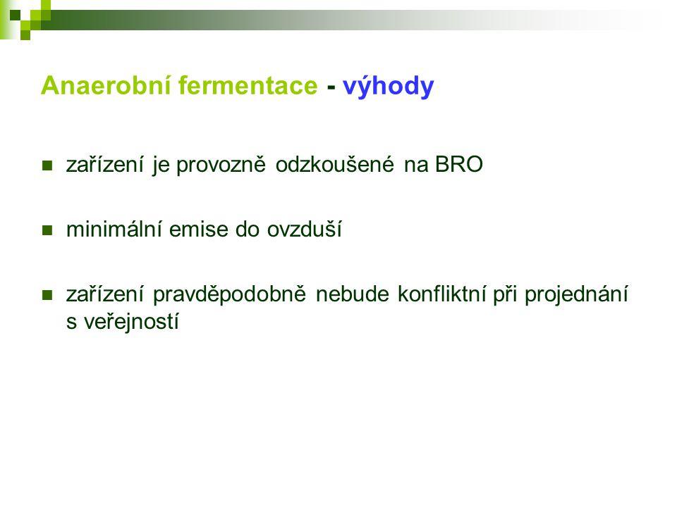 Anaerobní fermentace - výhody  zařízení je provozně odzkoušené na BRO  minimální emise do ovzduší  zařízení pravděpodobně nebude konfliktní při pro