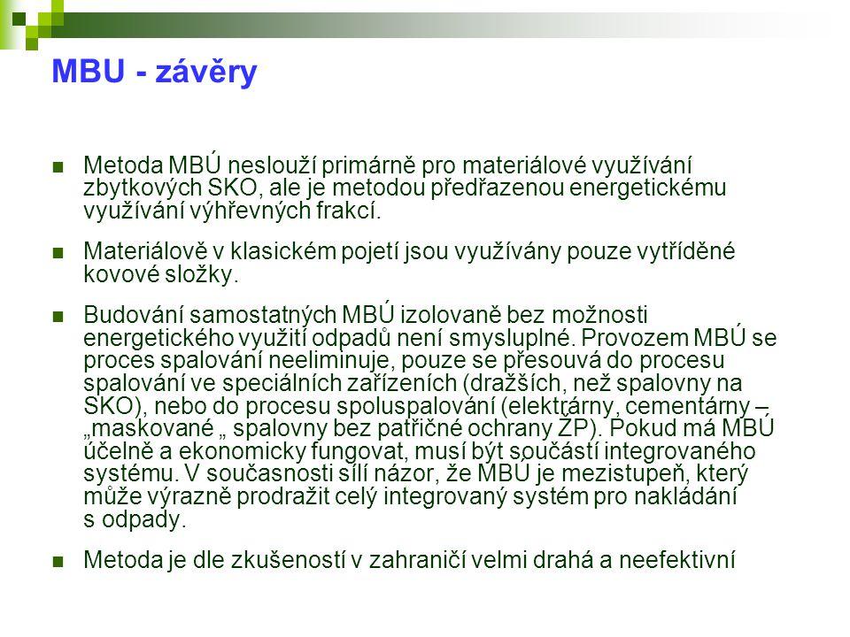 MBU - závěry  Metoda MBÚ neslouží primárně pro materiálové využívání zbytkových SKO, ale je metodou předřazenou energetickému využívání výhřevných fr