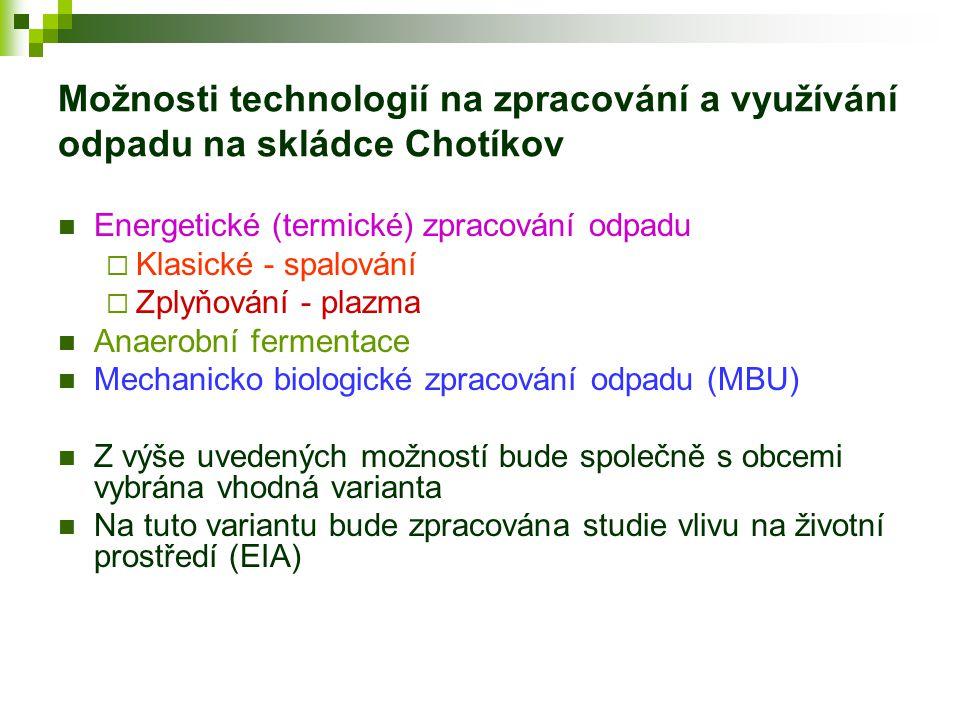 Možnosti technologií na zpracování a využívání odpadu na skládce Chotíkov  Energetické (termické) zpracování odpadu  Klasické - spalování  Zplyňová