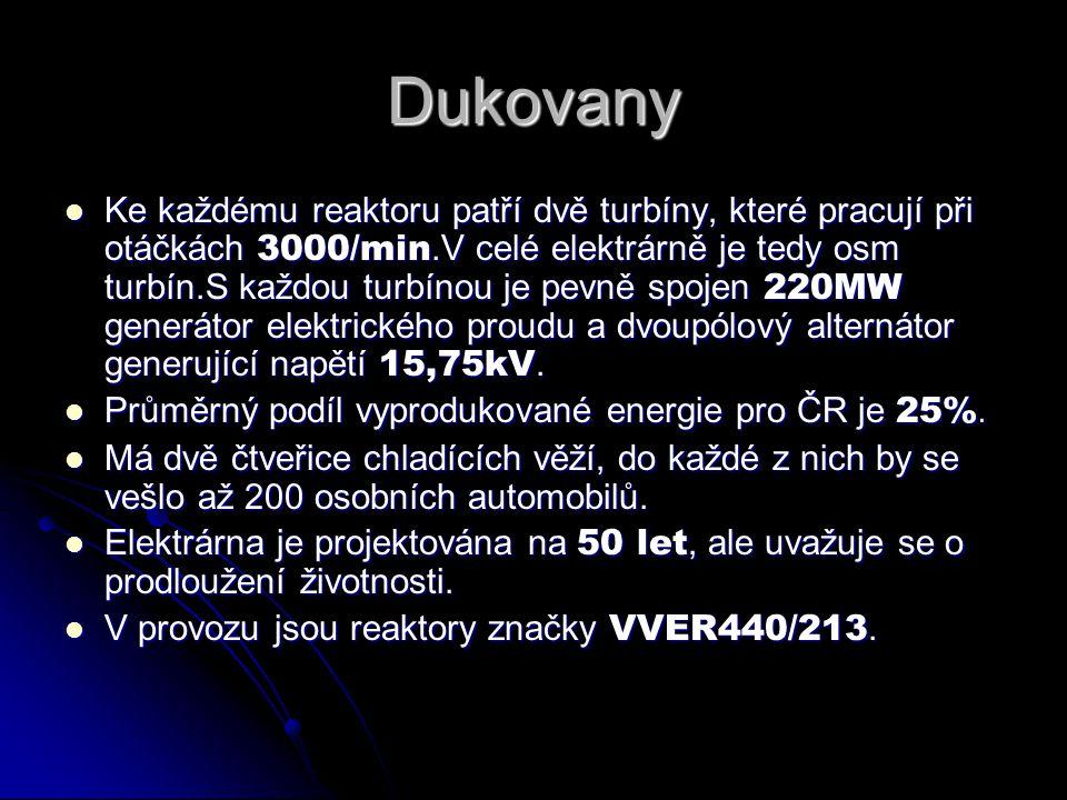 Dukovany  Ke každému reaktoru patří dvě turbíny, které pracují při otáčkách 3000/min.V celé elektrárně je tedy osm turbín.S každou turbínou je pevně spojen 220MW generátor elektrického proudu a dvoupólový alternátor generující napětí 15,75kV.