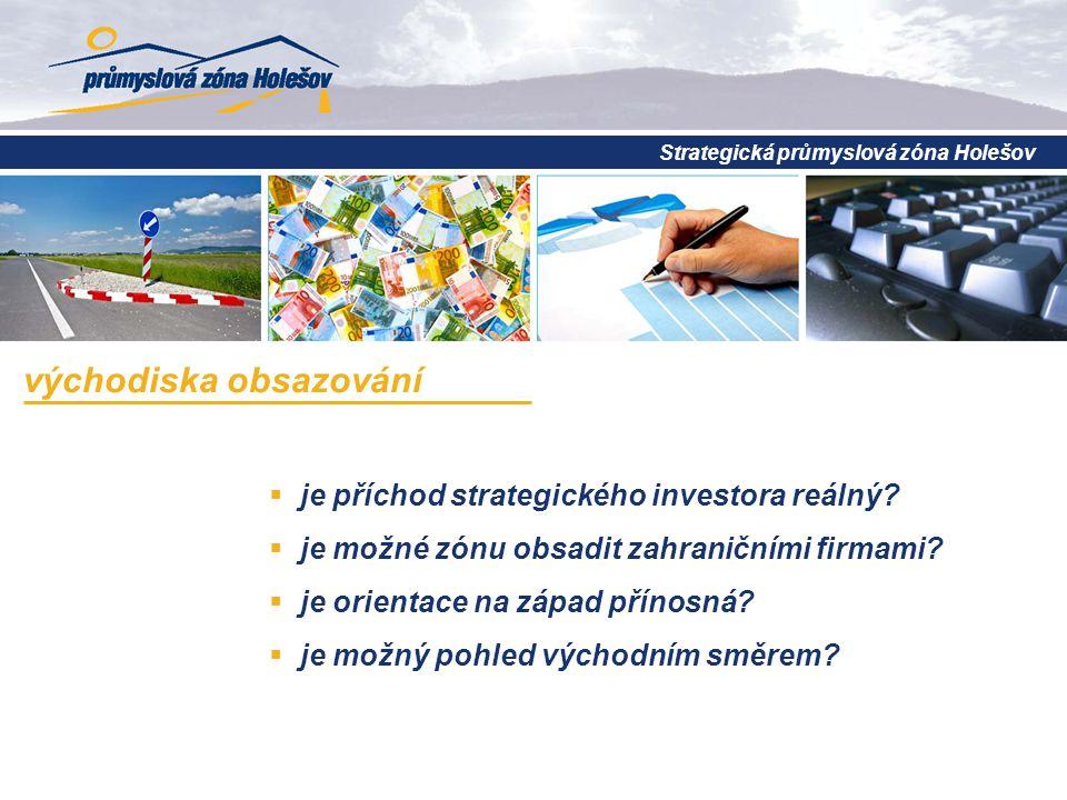 Strategická průmyslová zóna Holešov východiska obsazování  je příchod strategického investora reálný.