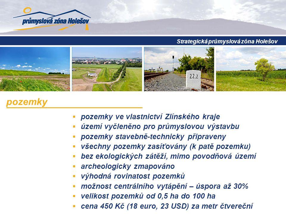  pozemky ve vlastnictví Zlínského kraje  území vyčleněno pro průmyslovou výstavbu  pozemky stavebně-technicky připraveny  všechny pozemky zasíťovány (k patě pozemku)  bez ekologických zátěží, mimo povodňová území  archeologicky zmapováno  výhodná rovinatost pozemků  možnost centrálního vytápění – úspora až 30%  velikost pozemků od 0,5 ha do 100 ha  cena 450 Kč (18 euro, 23 USD) za metr čtvereční pozemky Strategická průmyslová zóna Holešov