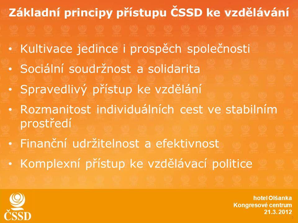 Základní principy přístupu ČSSD ke vzdělávání • Kultivace jedince i prospěch společnosti • Sociální soudržnost a solidarita • Spravedlivý přístup ke vzdělání • Rozmanitost individuálních cest ve stabilním prostředí • Finanční udržitelnost a efektivnost • Komplexní přístup ke vzdělávací politice 3 hotel Olšanka Kongresové centrum 21.3.