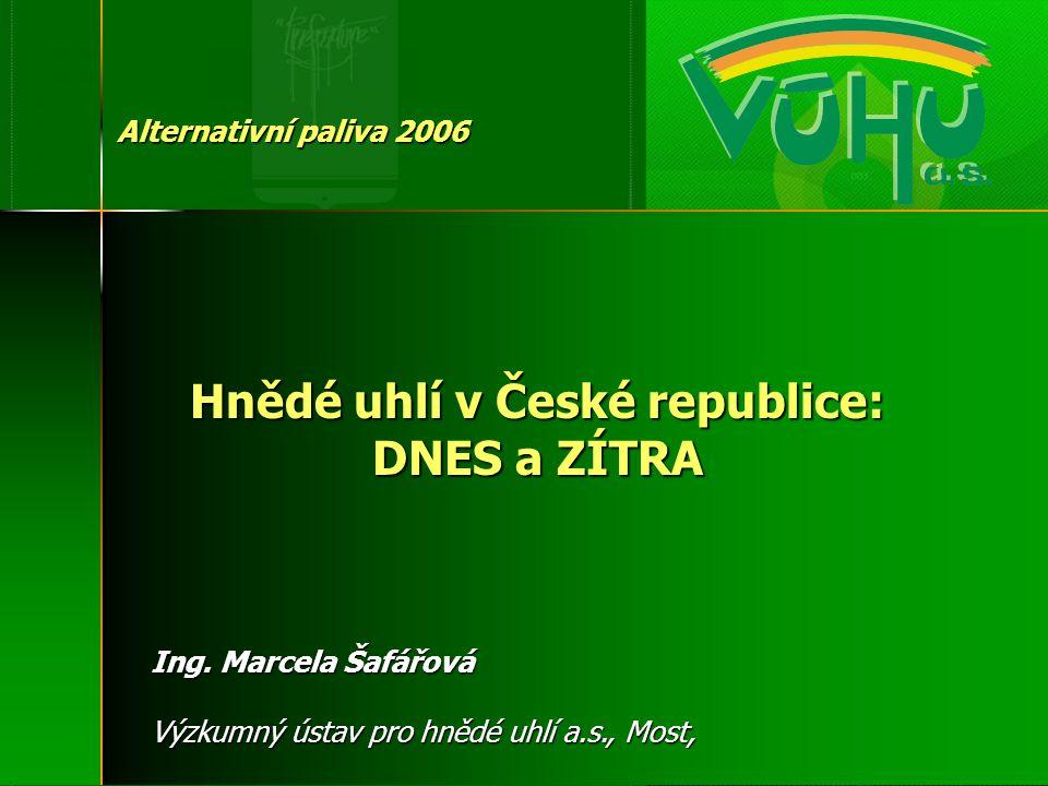 Hnědé uhlí v České republice: DNES a ZÍTRA Alternativní paliva 2006 Ing. Marcela Šafářová Výzkumný ústav pro hnědé uhlí a.s., Most,