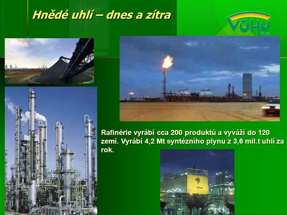 Rafinérie vyrábí cca 200 produktů a vyváží do 120 zemí. Vyrábí 4,2 Mt syntézního plynu z 3,6 mil.t uhlí za rok. Hnědé uhlí – dnes a zítra