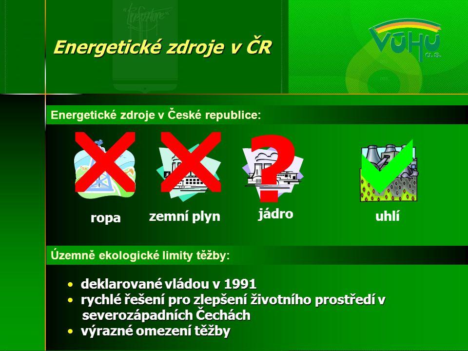 Územně ekologické limity těžby: Energetické zdroje v ČR Energetické zdroje v České republice: ropa zemní plyn jádro uhlí   • deklarované vládou v 1