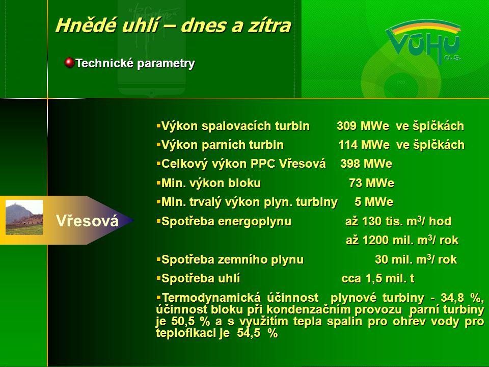 Vřesová Hnědé uhlí – dnes a zítra Technické parametry  Výkon spalovacích turbin 309 MWe ve špičkách  Výkon parních turbin 114 MWe ve špičkách  Celk