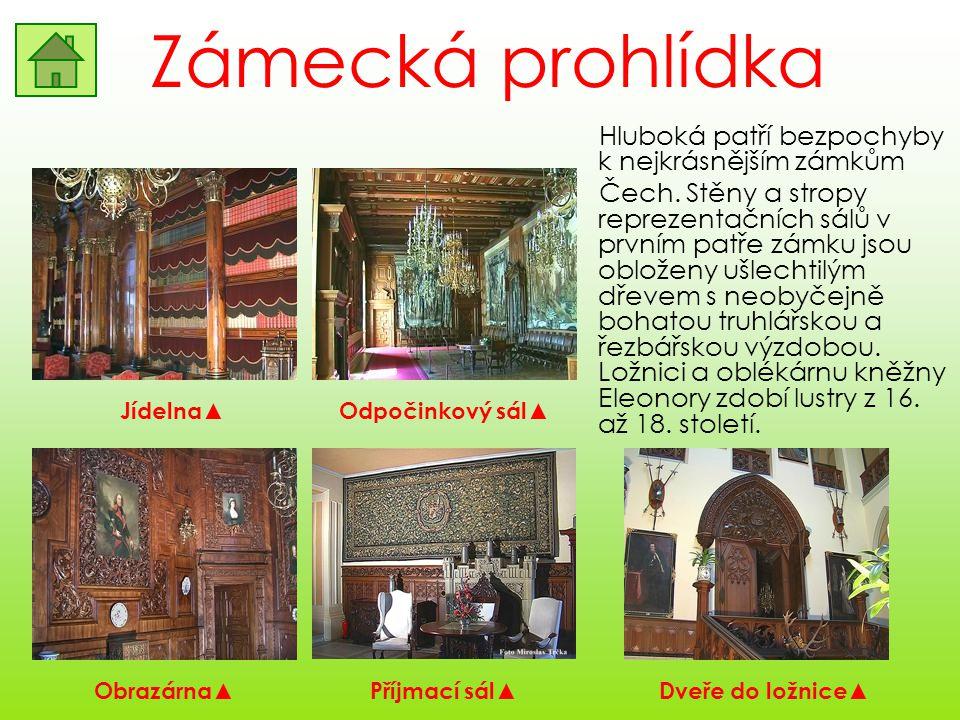 Zámecká prohlídka Hluboká patří bezpochyby k nejkrásnějším zámkům Čech. Stěny a stropy reprezentačních sálů v prvním patře zámku jsou obloženy ušlecht