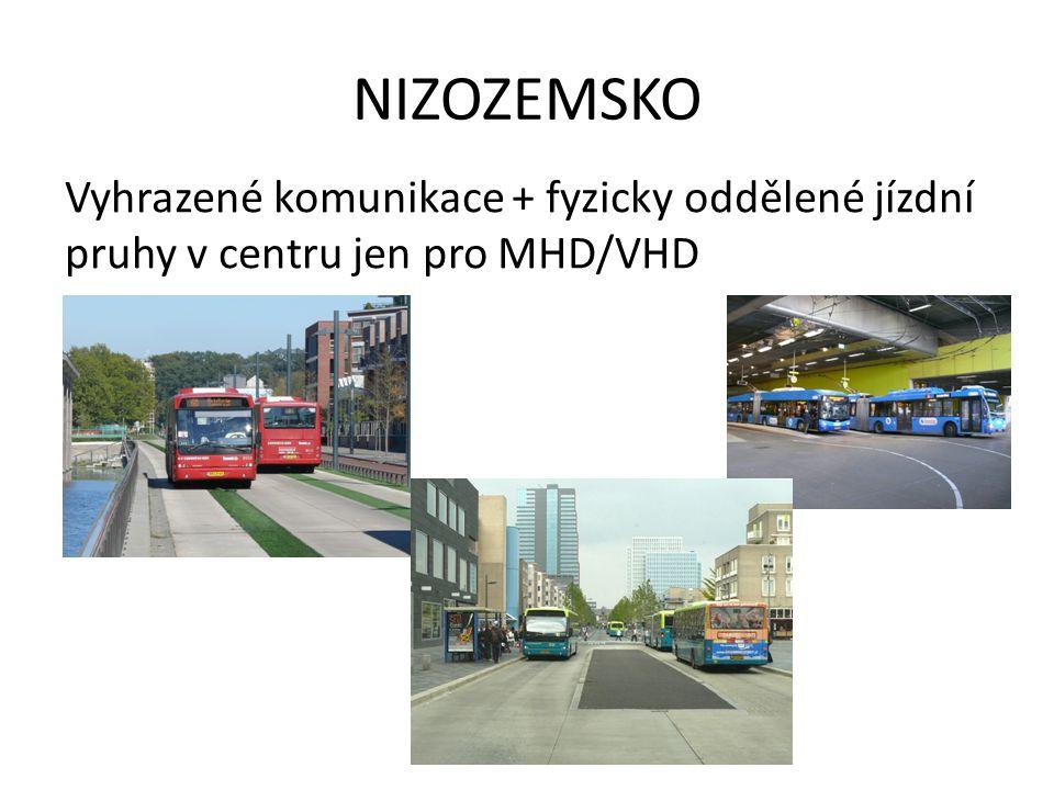 NIZOZEMSKO Vyhrazené komunikace + fyzicky oddělené jízdní pruhy v centru jen pro MHD/VHD