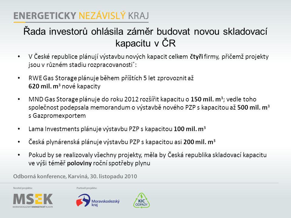 Řada investorů ohlásila záměr budovat novou skladovací kapacitu v ČR • V České republice plánují výstavbu nových kapacit celkem čtyři firmy, přičemž p
