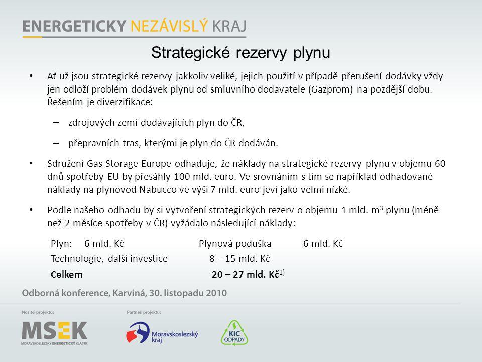 Strategické rezervy plynu • Ať už jsou strategické rezervy jakkoliv veliké, jejich použití v případě přerušení dodávky vždy jen odloží problém dodávek