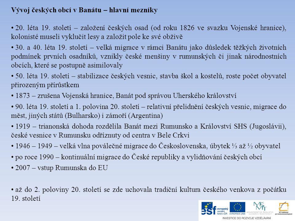 Vývoj českých obcí v Banátu – hlavní mezníky • 20.