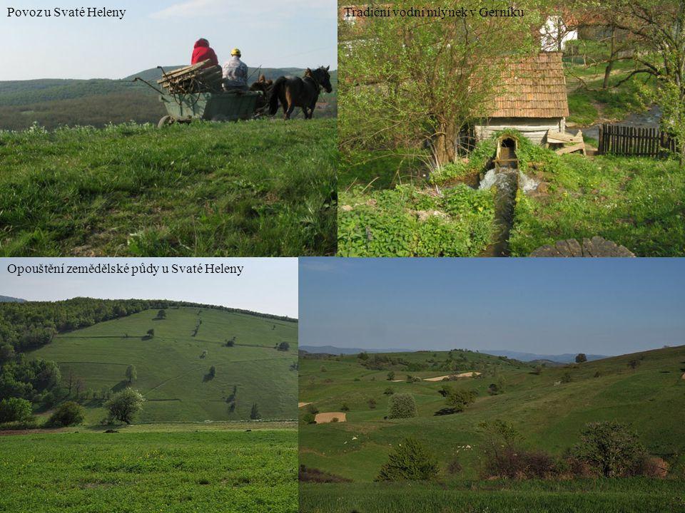 Opouštění zemědělské půdy u Svaté Heleny Povoz u Svaté HelenyTradiční vodní mlýnek v Gerníku