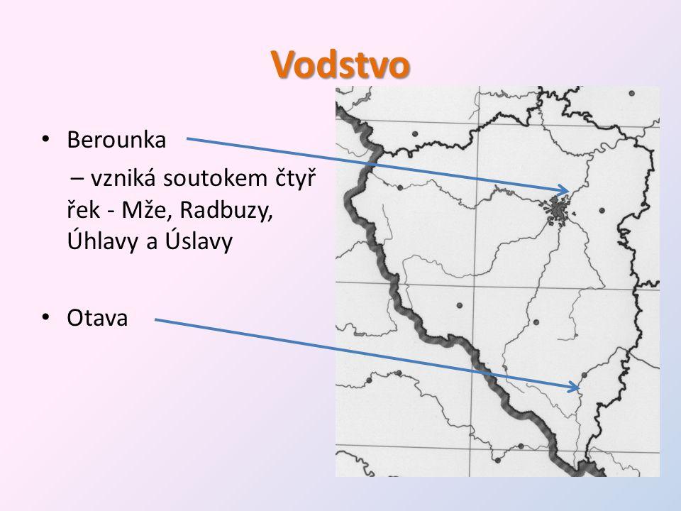 Vodstvo • Berounka – vzniká soutokem čtyř řek - Mže, Radbuzy, Úhlavy a Úslavy • Otava