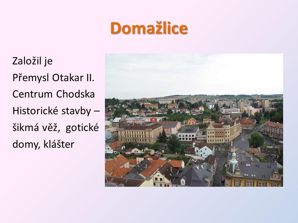 Domažlice Založil je Přemysl Otakar II. Centrum Chodska Historické stavby – šikmá věž, gotické domy, klášter
