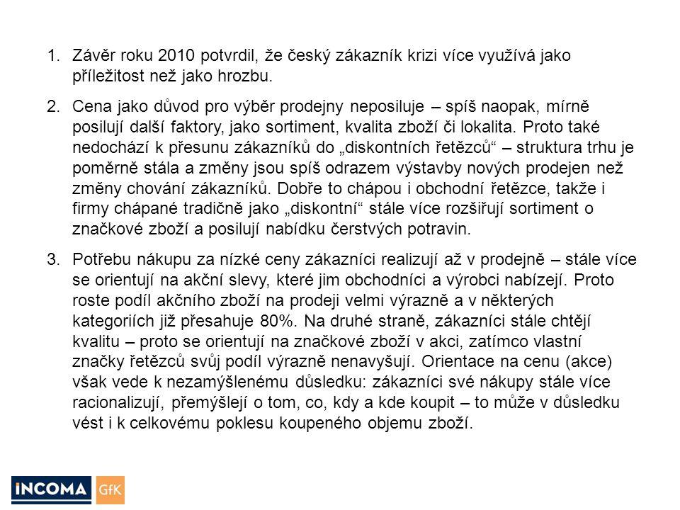 1.Závěr roku 2010 potvrdil, že český zákazník krizi více využívá jako příležitost než jako hrozbu. 2.Cena jako důvod pro výběr prodejny neposiluje – s