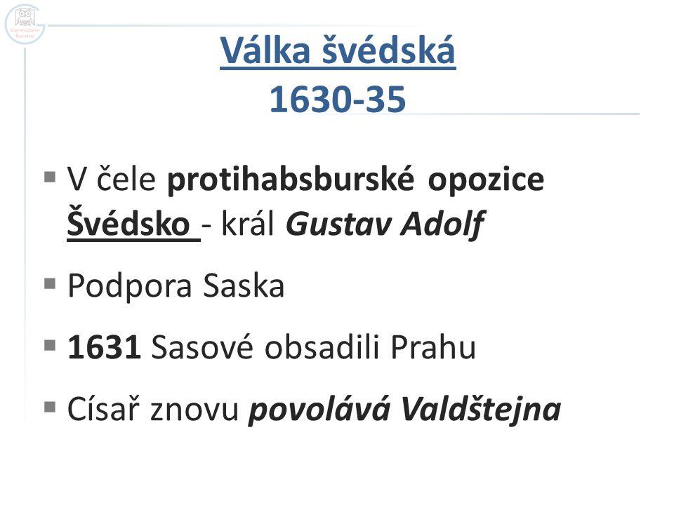  V čele protihabsburské opozice Švédsko - král Gustav Adolf  Podpora Saska  1631 Sasové obsadili Prahu  Císař znovu povolává Valdštejna Válka švéd