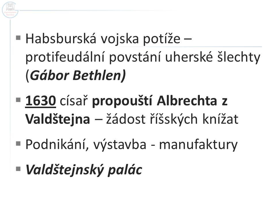  Habsburská vojska potíže – protifeudální povstání uherské šlechty (Gábor Bethlen)  1630 císař propouští Albrechta z Valdštejna – žádost říšských kn