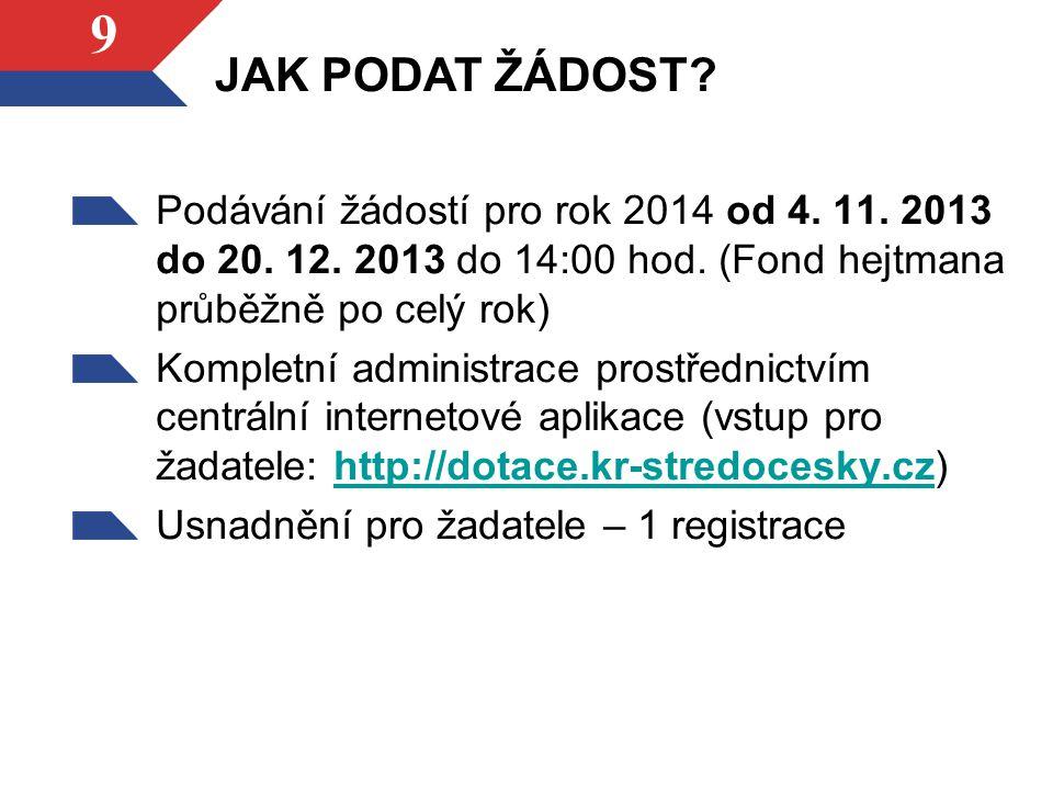 9 Podávání žádostí pro rok 2014 od 4. 11. 2013 do 20. 12. 2013 do 14:00 hod. (Fond hejtmana průběžně po celý rok) Kompletní administrace prostřednictv