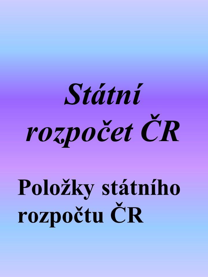 Státní rozpočet ČR Položky státního rozpočtu ČR