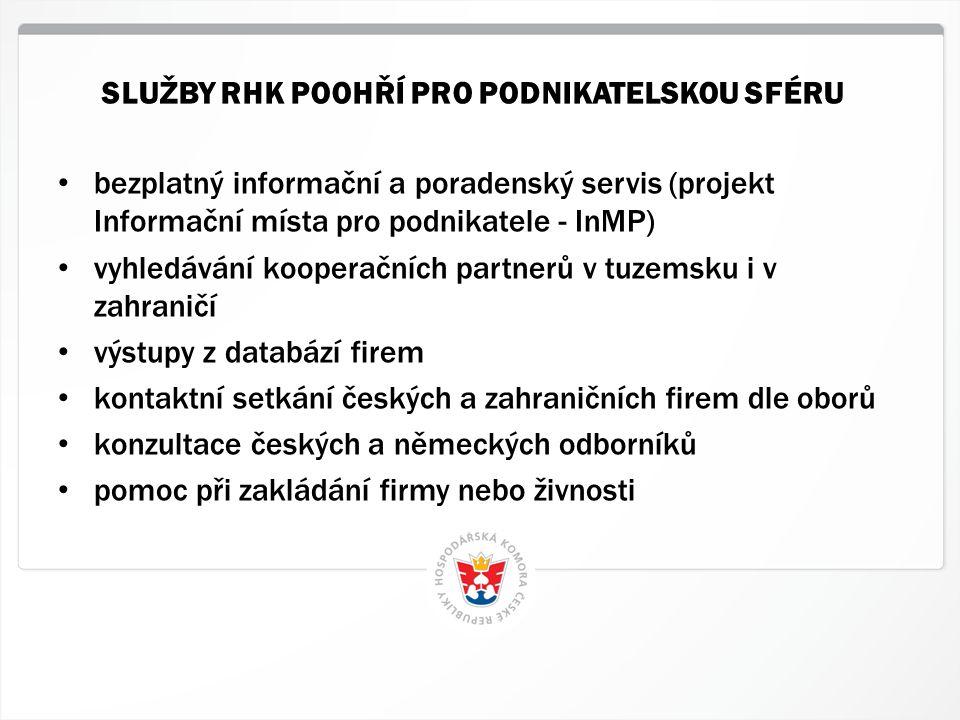 3 HK ČR, 1.7.2014 • bezplatný informační a poradenský servis (projekt Informační místa pro podnikatele - InMP) • vyhledávání kooperačních partnerů v t