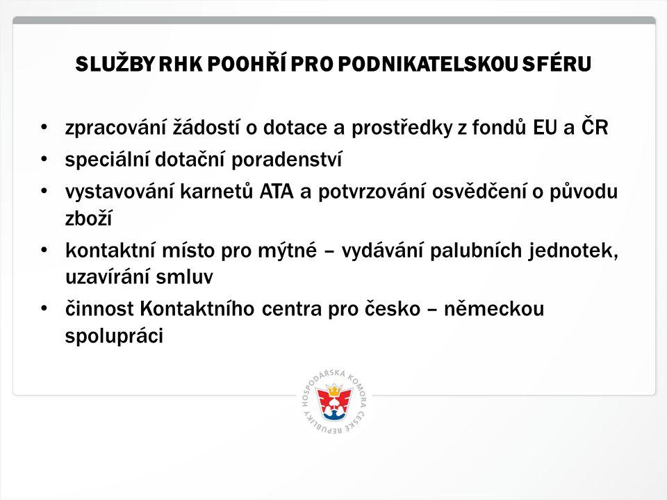 4 HK ČR, 1.7.2014 • zpracování žádostí o dotace a prostředky z fondů EU a ČR • speciální dotační poradenství • vystavování karnetů ATA a potvrzování o