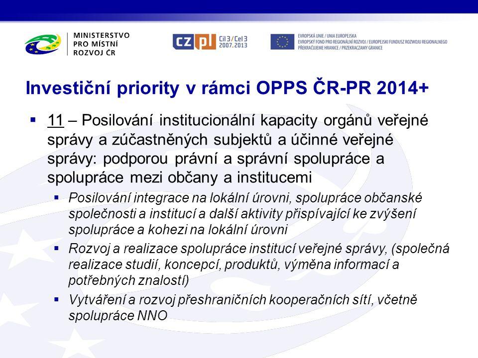 Investiční priority v rámci OPPS ČR-PR 2014+  11 – Posilování institucionální kapacity orgánů veřejné správy a zúčastněných subjektů a účinné veřejné