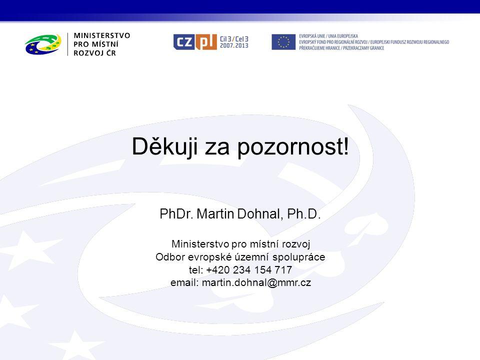 Děkuji za pozornost! PhDr. Martin Dohnal, Ph.D. Ministerstvo pro místní rozvoj Odbor evropské územní spolupráce tel: +420 234 154 717 email: martin.do