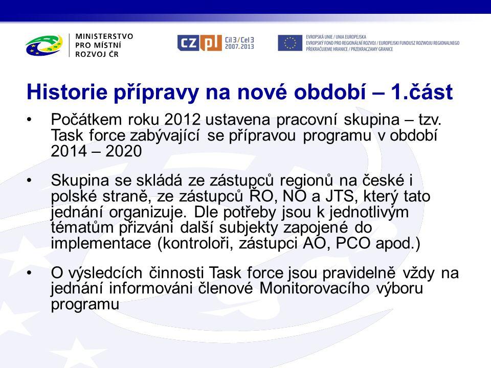 •Počátkem roku 2012 ustavena pracovní skupina – tzv. Task force zabývající se přípravou programu v období 2014 – 2020 •Skupina se skládá ze zástupců r