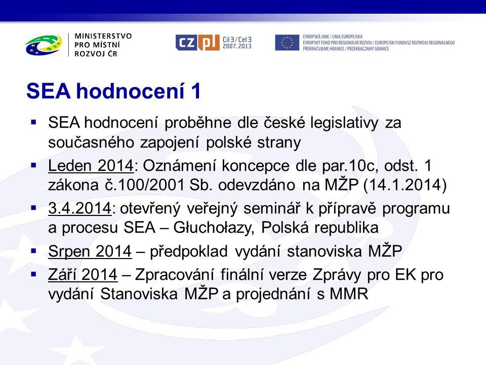 SEA hodnocení 1  SEA hodnocení proběhne dle české legislativy za současného zapojení polské strany  Leden 2014: Oznámení koncepce dle par.10c, odst.