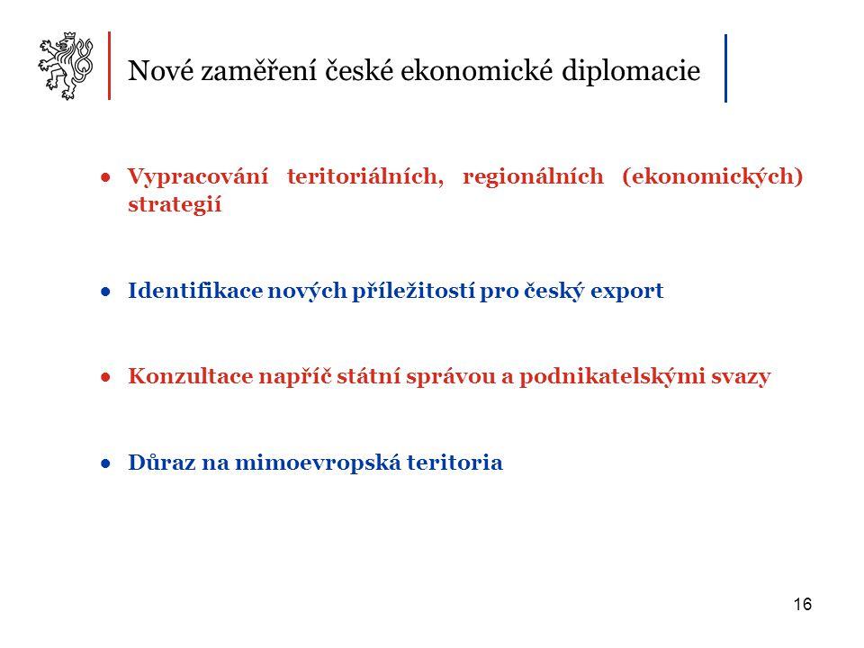 16 Nové zaměření české ekonomické diplomacie ●Vypracování teritoriálních, regionálních (ekonomických) strategií ●Identifikace nových příležitostí pro český export ●Konzultace napříč státní správou a podnikatelskými svazy ●Důraz na mimoevropská teritoria
