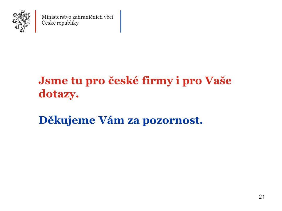21 Jsme tu pro české firmy i pro Vaše dotazy. Děkujeme Vám za pozornost.