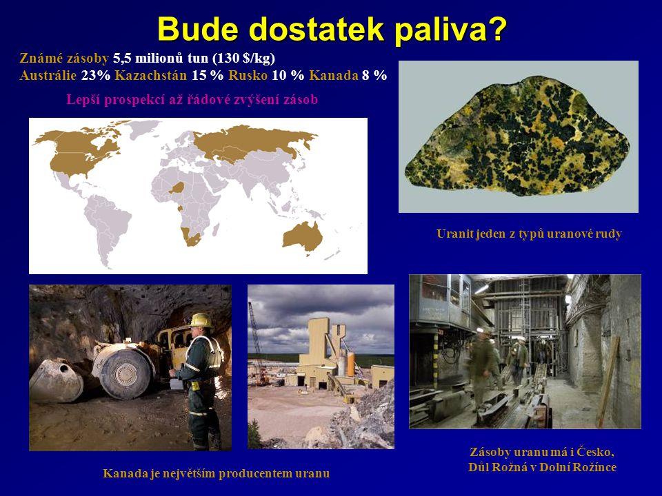 Známé zásoby 5,5 milionů tun (130 $/kg) Austrálie 23% Kazachstán 15 % Rusko 10 % Kanada 8 % Uranit jeden z typů uranové rudy Zásoby uranu má i Česko,