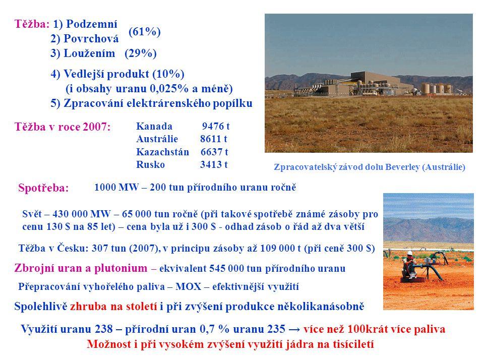 Těžba: 1) Podzemní 2) Povrchová 3) Loužením (29%) 4) Vedlejší produkt (10%) (i obsahy uranu 0,025% a méně) 5) Zpracování elektrárenského popílku Těžba