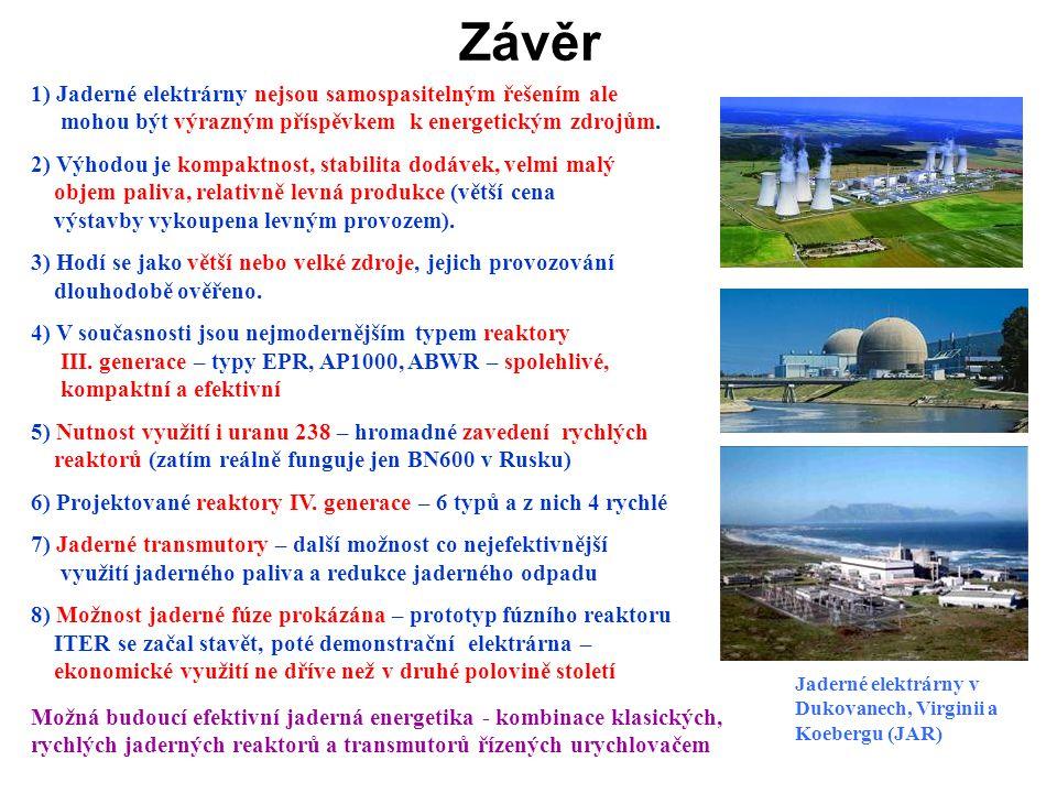 1) Jaderné elektrárny nejsou samospasitelným řešením ale mohou být výrazným příspěvkem k energetickým zdrojům. 2) Výhodou je kompaktnost, stabilita do