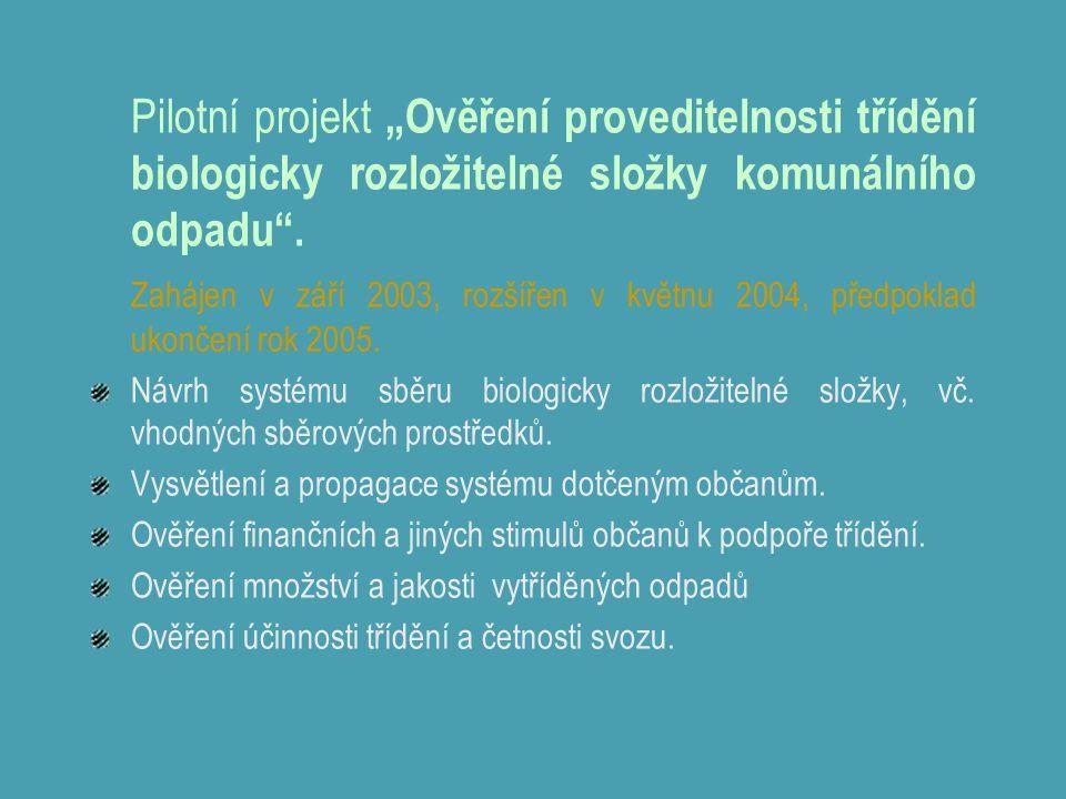 """Pilotní projekt """"Ověření proveditelnosti třídění biologicky rozložitelné složky komunálního odpadu"""". Zahájen v září 2003, rozšířen v květnu 2004, před"""