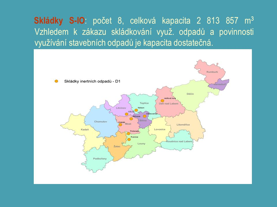 Skládky S-IO : počet 8, celková kapacita 2 813 857 m 3 Vzhledem k zákazu skládkování využ. odpadů a povinnosti využívání stavebních odpadů je kapacita