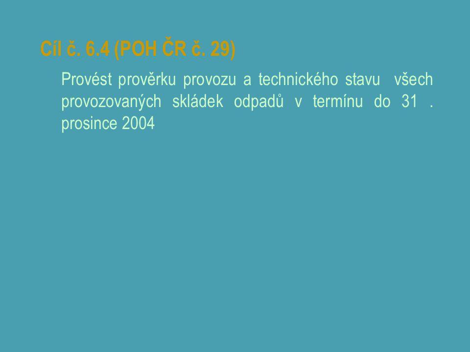 Cíl č. 6.4 (POH ČR č. 29) Provést prověrku provozu a technického stavu všech provozovaných skládek odpadů v termínu do 31. prosince 2004